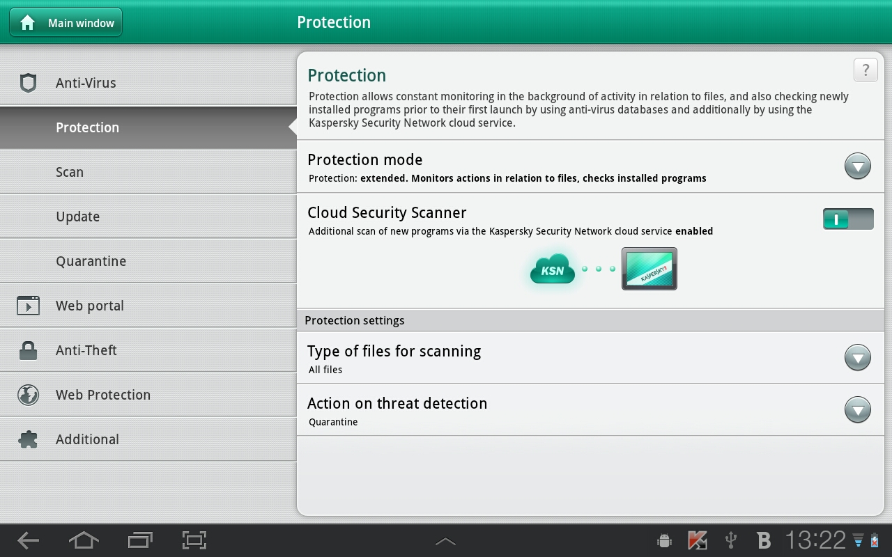 Kaspersky Tablet Security на андроид
